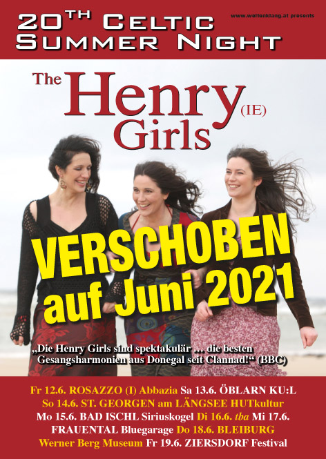 "20. ""Celtic Summer Night""-Tour mit den HENRY GIRLS im Juni"