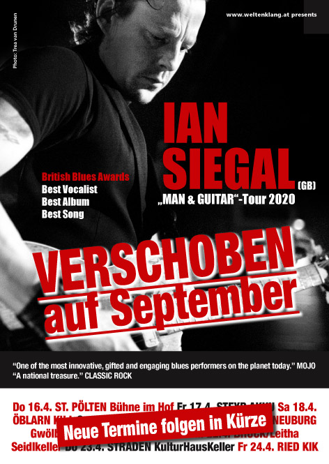Edel-Blueser IAN SIEGAL von 16.-25. April auf Ö-Tour